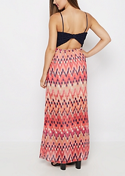 Coral Blur Bow Back Maxi Dress