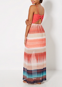 Coral Chevron Bow Back Maxi Dress