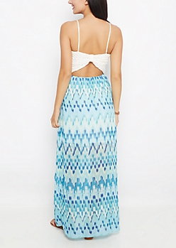 Turquoise Blur Bow Back Maxi Dress