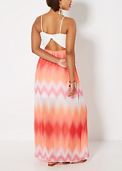 Sunset Chevron Bow Back Maxi Dress