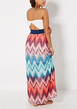 Chevron Bow Back Tube Maxi Dress
