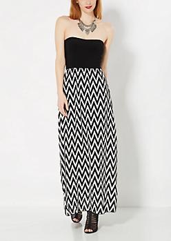 Black Chevron Tube Maxi Dress