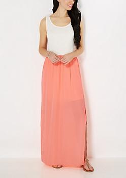 Neon Orange Smocked Maxi Dress