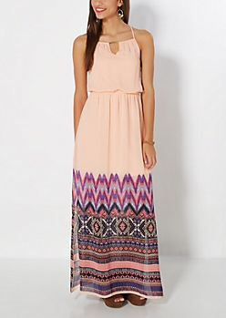 Aztec Gold Bar Maxi Dress