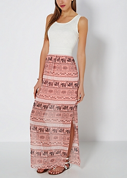 Elephant Folklore Smocked Maxi Dress