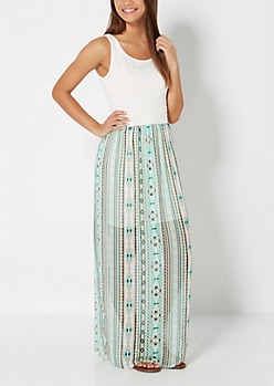 Mint Southwest Smocked Maxi Dress