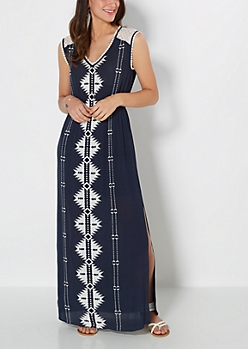 Navy Southwest Gauze Maxi Dress