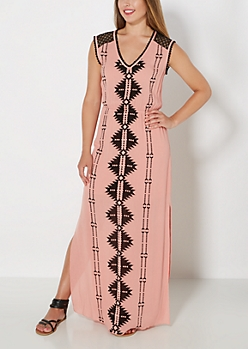Pink Southwest Gauze Maxi Dress