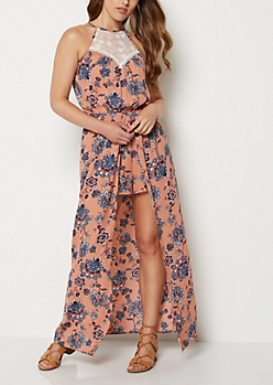 Floral High Neck Maxi Romper