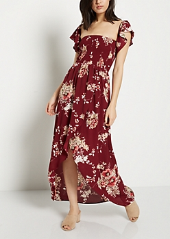 Floral Tulip Cut Maxi Dress