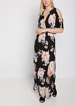 Floral Surplice Cold Shoulder Maxi Dress