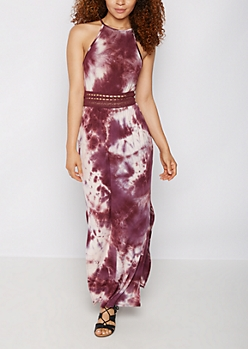 Tie Dye Crochet Waist Maxi Dress
