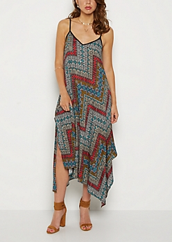 Geo Tribal Hanky Hem Maxi Dress