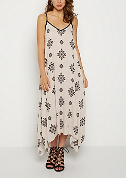 Tribal Medallion Hanky Hem Maxi Dress
