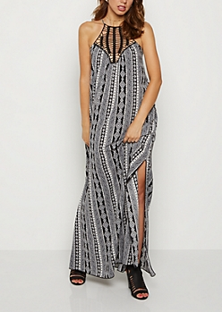 Folklore Crochet High Neck Maxi Dress