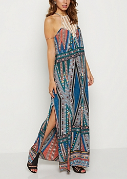 Tribal Crochet High Neck Maxi Dress
