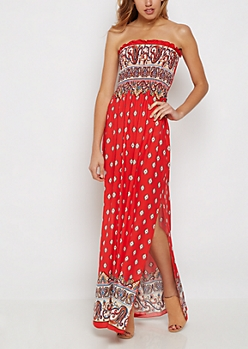 Bohemian Smocked Off Shoulder Maxi Dress