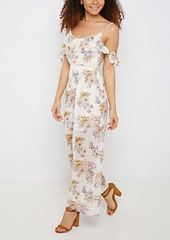 Wildflower Flutter Cold Shoulder Maxi Dress