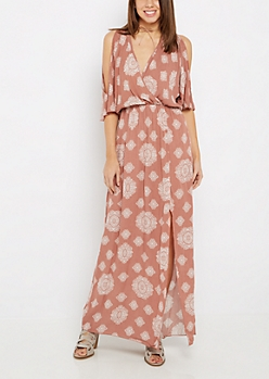 Coral Medallion Surplice Cold Shoulder Maxi Dress