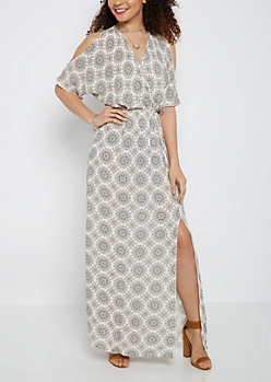 Medallion Surplice Cold Shoulder Maxi Dress