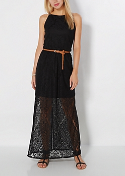 Black Geo Gem Crochet Maxi Dress
