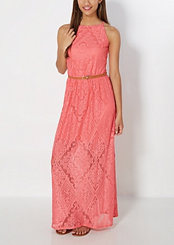 Coral Geo Gem Crochet Maxi Dress