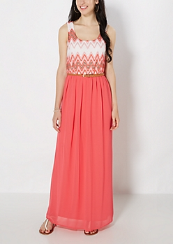 Coral Chevron Crochet Belted Maxi Dress