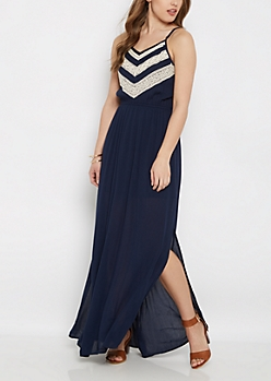Navy Crochet Chevron Maxi Dress