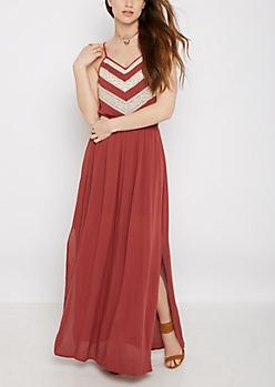 Pink Crochet Chevron Maxi Dress