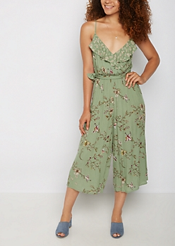 Floral Surplice Ruffled Jumpsuit