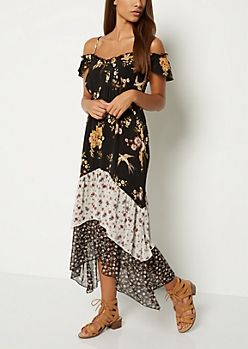 Mixed Floral Cold Shoulder Maxi Dress