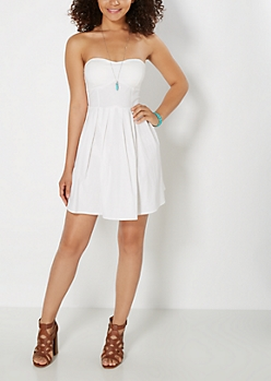 White Pleated Tube Dress
