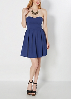 Navy Pleated Tube Dress