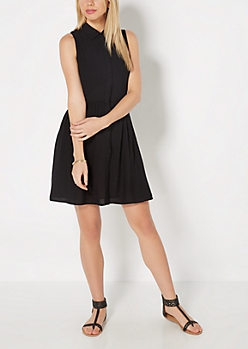 Black Challis Shirt Dress