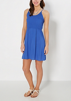 Blue Smocked Cami Sundress