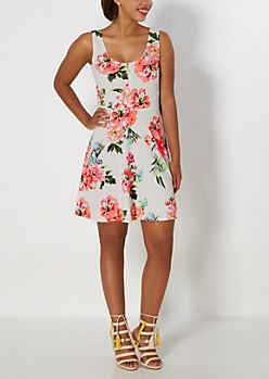 Neon Rose Zip-Down Skater Dress