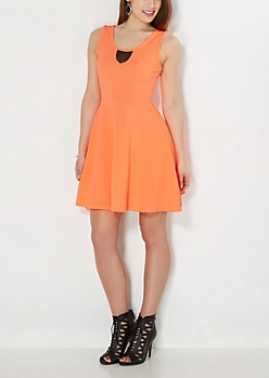 Neon Orange Mesh Neck Skater Dress