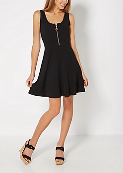 Black Zip Bodice Skater Dress