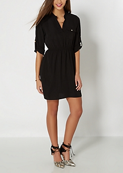 Black Chiffon Shirt Dress