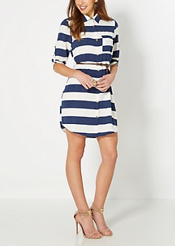 White & Navy Striped Shirt Dress