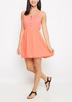 Neon Orange Zip Yoke Chiffon Dress