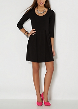 Black Pleated Crepe Skater Dress