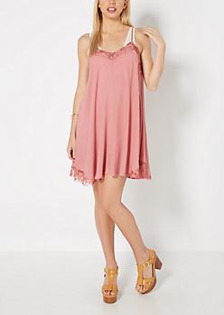 Pink Lace Neck Swing Dress