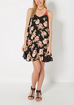 Rosy Lace Neck Swing Dress