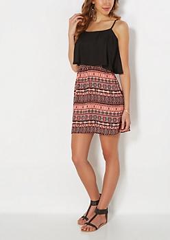 Coral Aztec Popover Dress