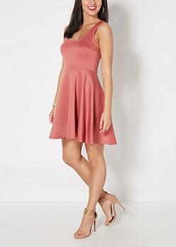 Pink Scuba Knit Skater Dress