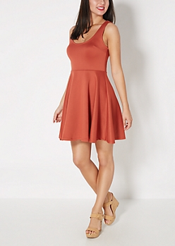 Burnt Orange Scuba Knit Skater Dress