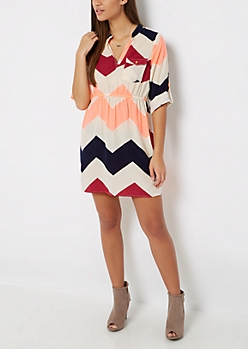 Neon Chevron Shirt Dress