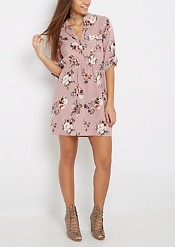 Lavender Rose Shirt Dress