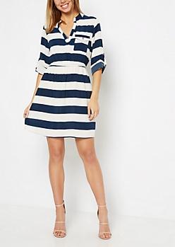 Navy Bold Striped Shirt Dress